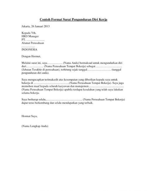 Contoh Surat Pengunduran Diri Resign Kerja Yang Sopan Dan Enak Dibaca