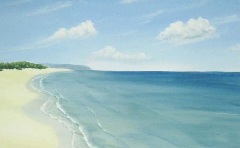Gambar lukisan pemandangan di tepian pantai
