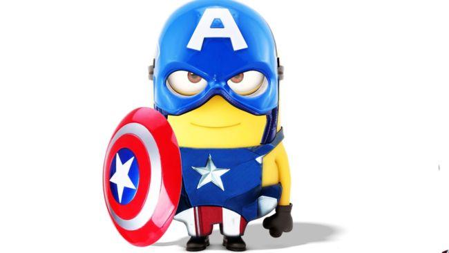 Gambar minion sedang jadi kapten Amerika