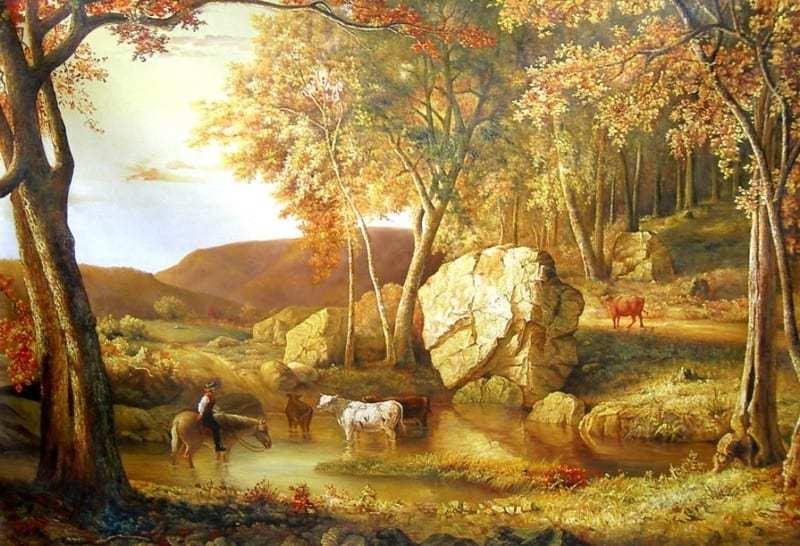 lukisan pemandangan menggunakan cat air