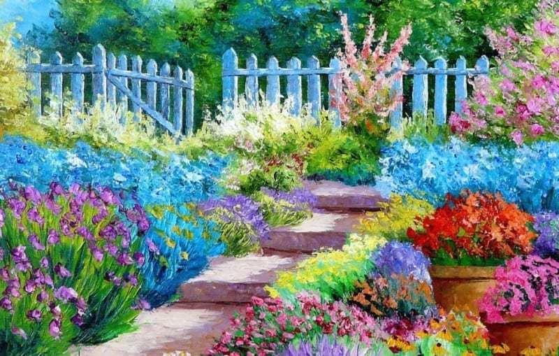 pemandangan taman bunga