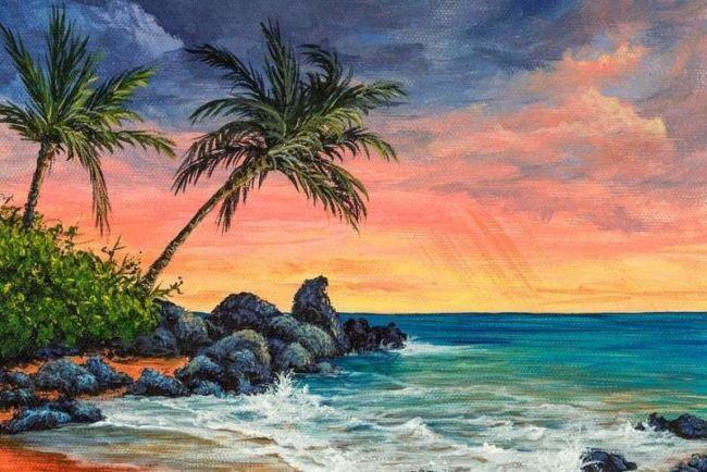 tepian pantai saat senja